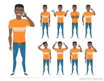Set of emotions and gestures to the young black african american man. Guy in a different mood. Boys emotions, man in a casual cloth Stock Image