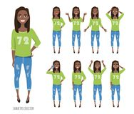 Set of emotions and gestures to the young black african american woman. Stock Image