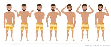 Set of emotions and gestures to the young man. Royalty Free Stock Photography