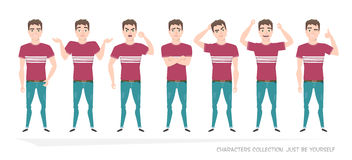 Set of emotions and gestures to the young man. Guy in a different mood. Boys emotions, man in everyday life Stock Images