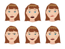 The set of emotions girls. The expression on his face. Royalty Free Stock Image