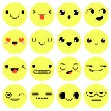 Set of 16 emotions isolated on white background. Vector Illustra. Tion Stock Images