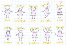 Set of emotions a little girl. Sketch on notebook page Royalty Free Stock Photo