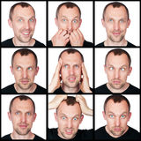 Set of emotions of man Stock Photography