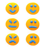 Set of emotions with  plasticine clay. Royalty Free Stock Image