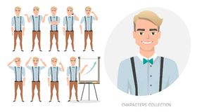Set of emotions for business man. Set of emotions and poses for business man. Male in a cartoon style experiences different emotions Royalty Free Stock Photos