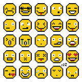 Set of emotions set of emoji smile icons simple pixel smile retro yellow Royalty Free Stock Image