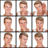 Set of emotions of young man Stock Images
