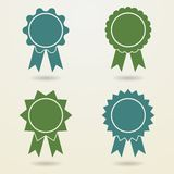 Set of empty badges with ribbons. Stock Image