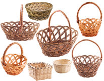 Set of empty  basket. Set of empty rustic wicker basket Royalty Free Stock Photos