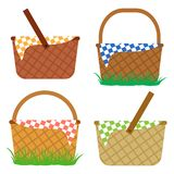 Set of baskets for picnic. Vector illustration stock illustration