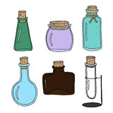Set of empty bottles. Set of vector hand drawn empty bottles. Different colors and shapes. Great for restaurant, pharmacy or beauty salon design Stock Images