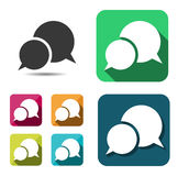 Set of empty color and white speech bubbles. Flat. Vector Stock Photography