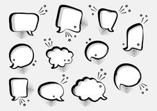 Set of empty comic speech bubbles different shapes with stars. Comic sound effects in pop art style. Vector stock illustration