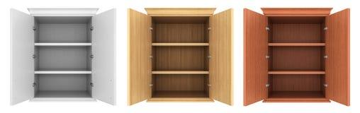 Set of empty cupboards. Stock Photo