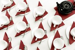 Set of empty cups fo tea. On the table Royalty Free Stock Photography
