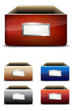 Set of empty drawers with label Stock Images