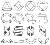 Set of empty emblems, ribbons. Design elements for logo, badge, sign. Vector illustration Royalty Free Stock Image