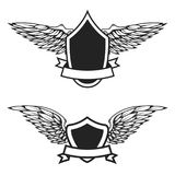 Set of the empty emblems with wings. Design elements for logo, l Royalty Free Stock Images