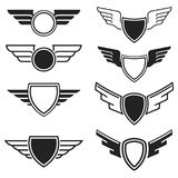 Set of the empty emblems with wings. Design elements for logo,   Royalty Free Stock Image