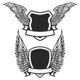 Set of the empty emblems with wings. Design elements for logo,   Royalty Free Stock Photo