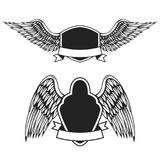 Set of the empty emblems with wings. Design elements for logo,   Royalty Free Stock Photography