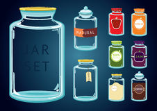 Set of empty and full glass jars. Glass Jar Set. Set of empty and full glass jars with different content and labels. Without using a transparency effect Royalty Free Stock Images