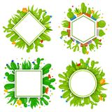 Set of 4 empty geometrical frames with cactuses and succulents. Home cactus plants with prickles and flowers. Exotic. Set of 4 empty geometrical vector frames Stock Images