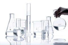 Set of empty glass flasks Royalty Free Stock Photos