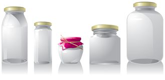 Set of 6 empty jar isolated on white background. stock illustration