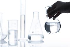 Set of empty laboratory flasks Royalty Free Stock Photos