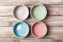 Empty pastel colored bowls royalty free stock photography