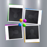 Set of empty photo frames with colorful magnets on Stock Image