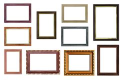 Set of empty picture frames with free space inside, isolated on. White royalty free stock images
