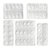 Set of empty plastic blister package Royalty Free Stock Images