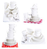 Set with empty plates and cups royalty free stock photo