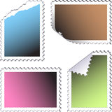 Set of empty post stamps. On a white background stock illustration