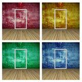 Set of Empty Room with Door Stock Photography