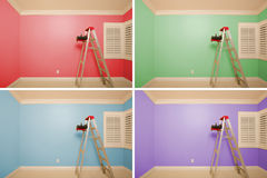 Set of Empty Rooms Painted in Variety of Colors. With Ladder, Rollers and Tray Stock Photography
