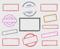 Set of empty rubber stamps. Big set of empty rubber stamps. Vector illustration for use on opacity background stock illustration