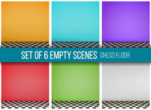 Set of 6 empty scenes, chess floor Royalty Free Stock Photography
