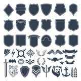 Set of empty shapes for military badges. Army monochrome symbols