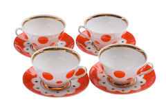 Set of empty teacup close up Stock Photo
