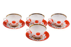 Set of empty teacup on white Royalty Free Stock Image