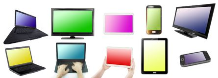 Set of empty technology screens isolated. On white background Stock Photo