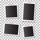 Set of empty template photo frames with adhesive, sticky tape on isolated background. eps10 royalty free illustration