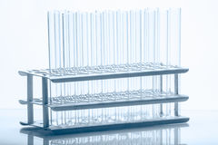 Set of empty test lab tubes on stand Stock Photo