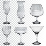 Set of empty transparent glass goblets for different drinks royalty free illustration
