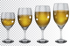 Set of transparent glass goblets with white wine Royalty Free Stock Photography