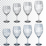 Set of empty transparent glass goblets for wine vector illustration